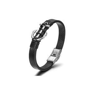 Load image into Gallery viewer, Gold/Black/Silver Anchor Warp Leather Bracelet