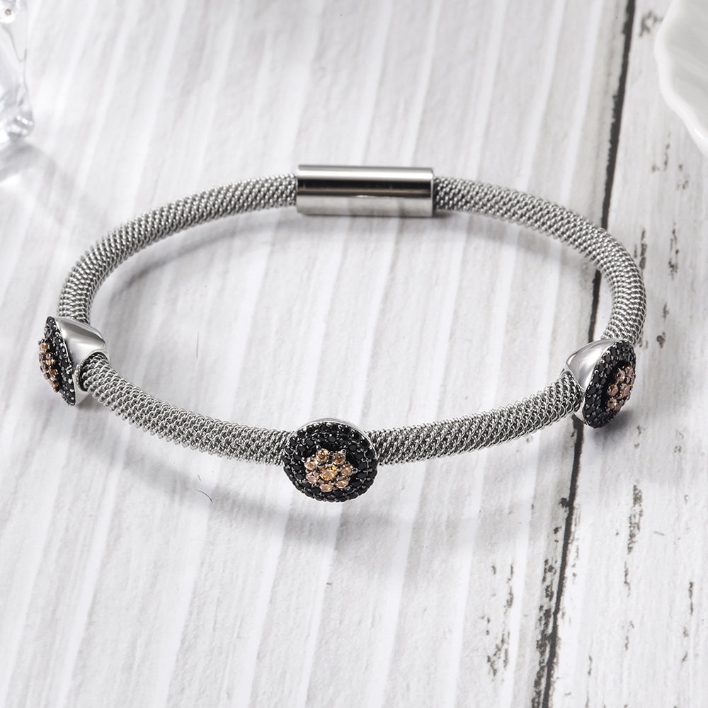 Load image into Gallery viewer, Flower Cable Station Bangle