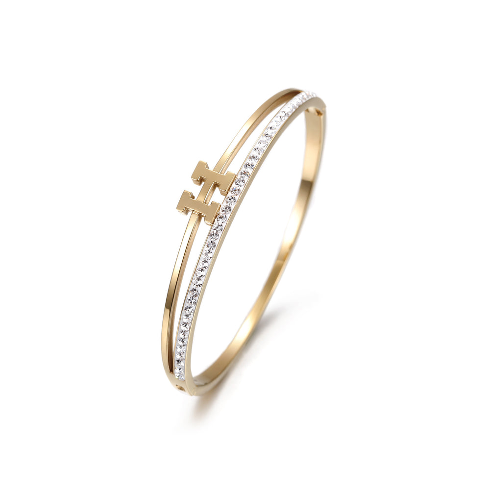 Load image into Gallery viewer, H-shaped CZ Bangle