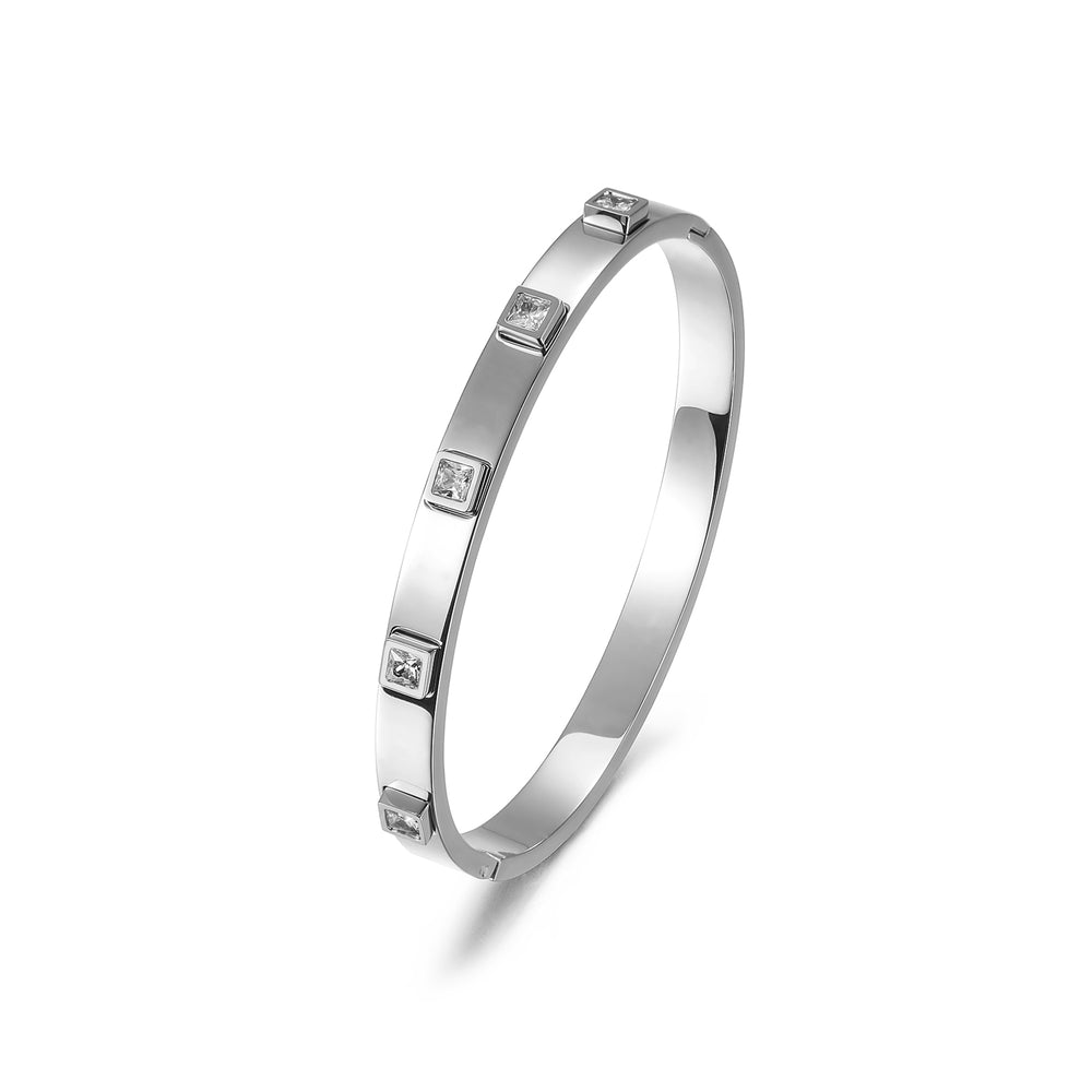 Load image into Gallery viewer, Metal Stone Hinged Bangle