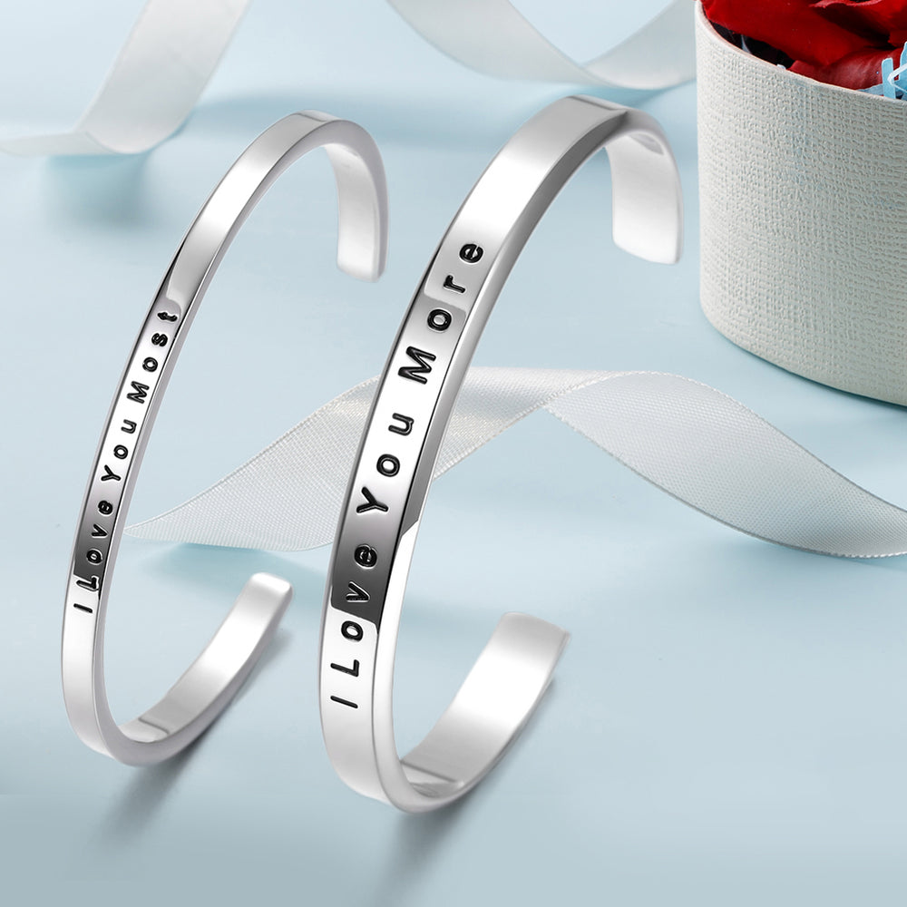 """I Love you more""&""I Love you most"" Couple Cuff"