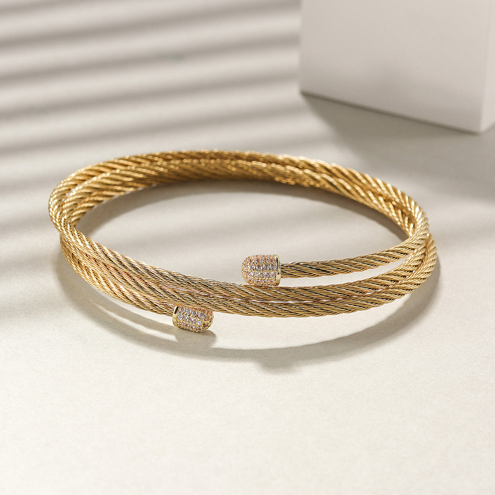Load image into Gallery viewer, CZ Three-Row Cable Bracelet