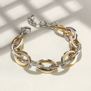 Load image into Gallery viewer, Two-Tone Oval Link Bracelet