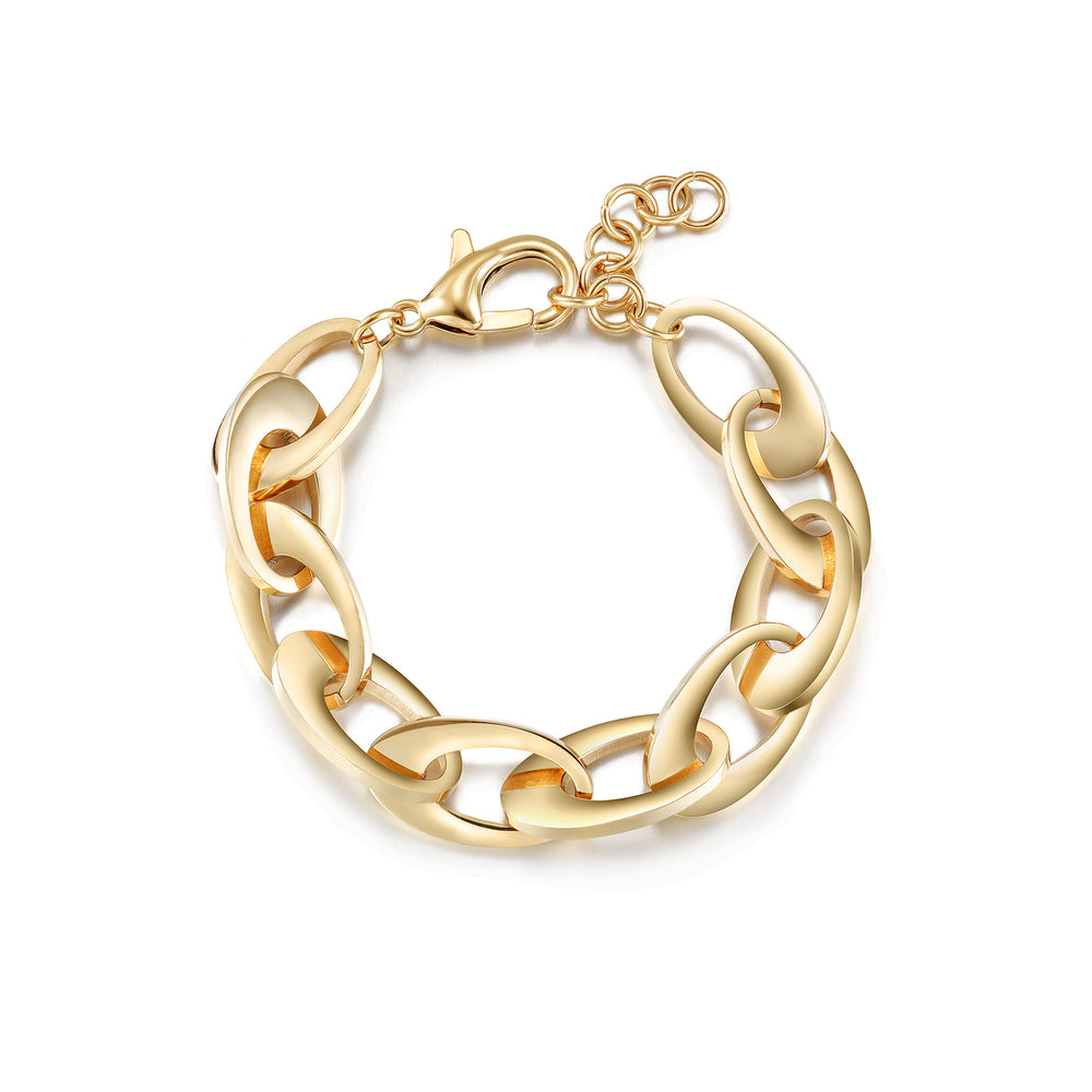 Oval Chain Bracelet Lobster Clasp