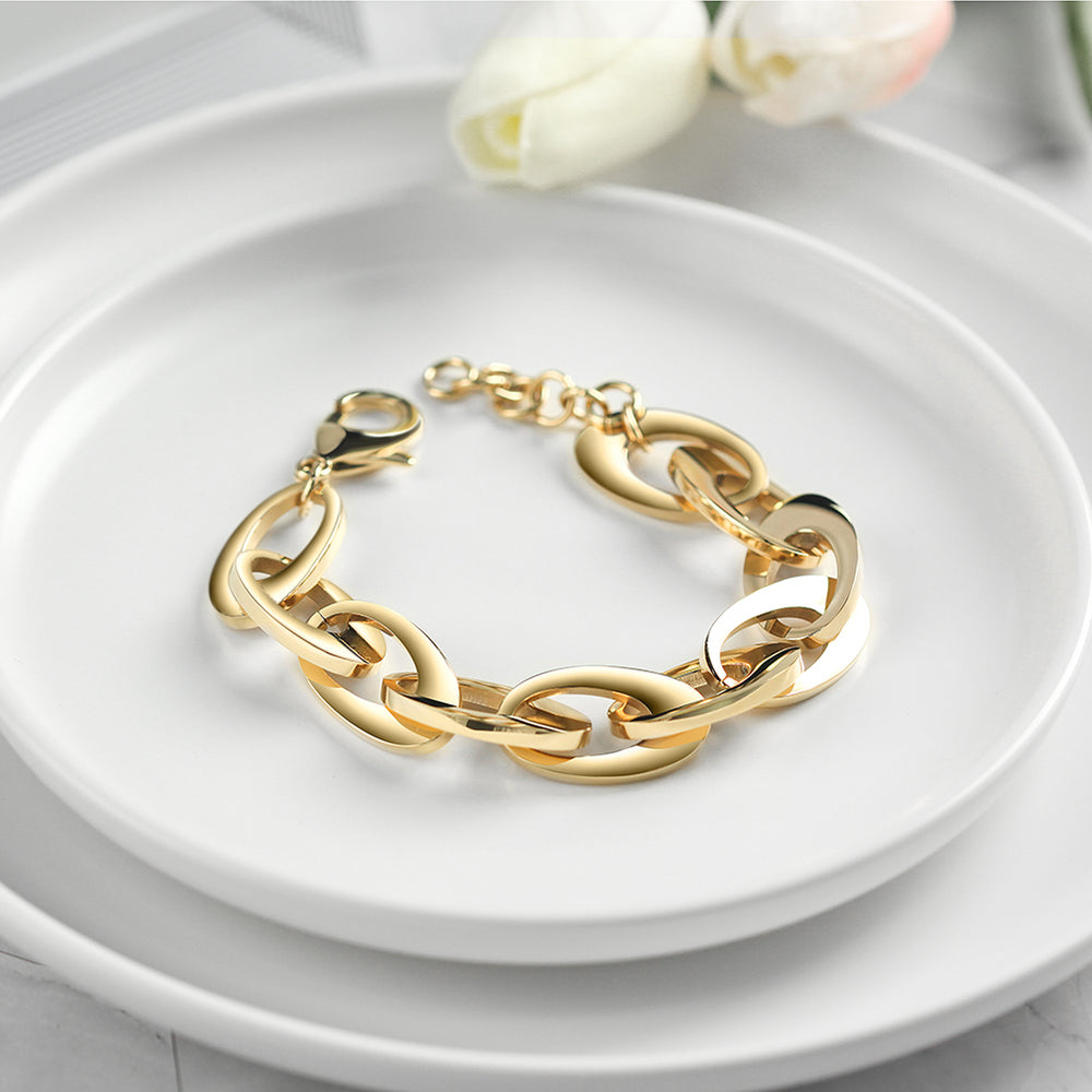 Load image into Gallery viewer, Oval Chain Bracelet Lobster Clasp