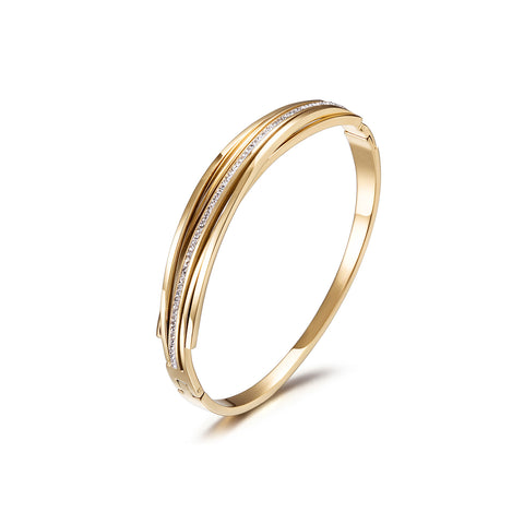 Intertwined CZ Bangle Gold