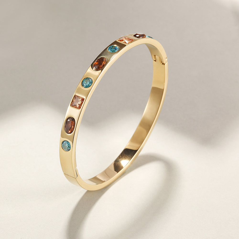 Load image into Gallery viewer, MULTI-STONE HINGE BANGLE