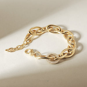 Oval Link Bracelet with CZ