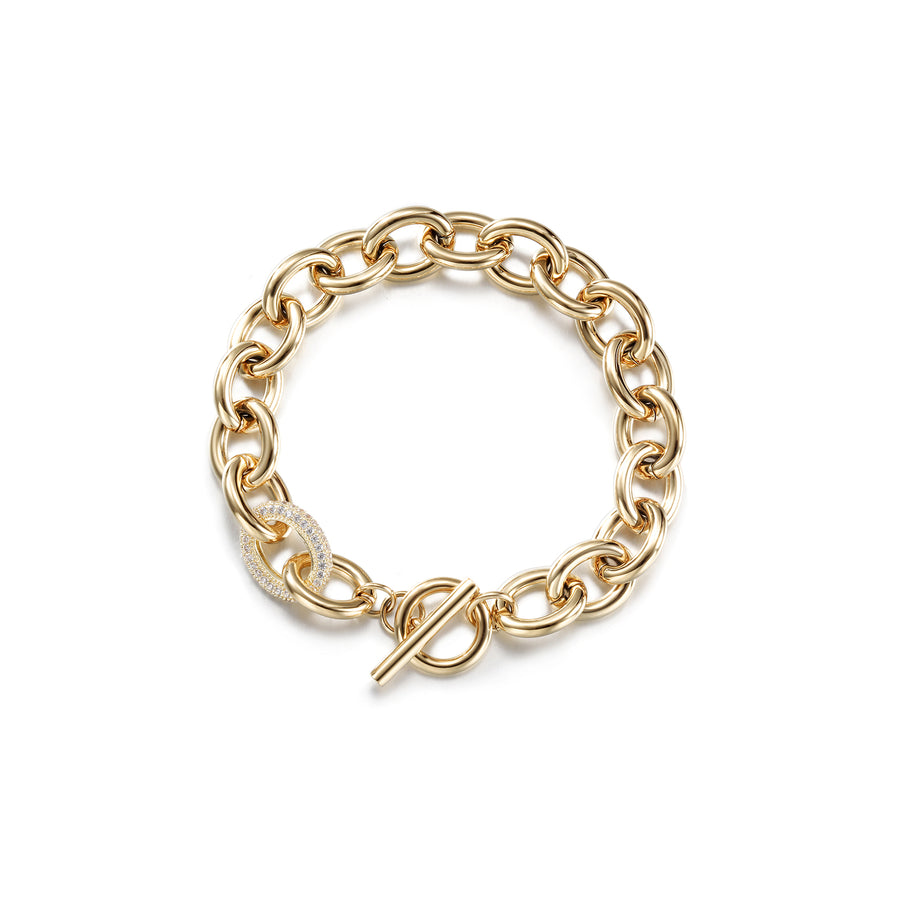 Cable Wire CZ Vintage Toggle Bracelet