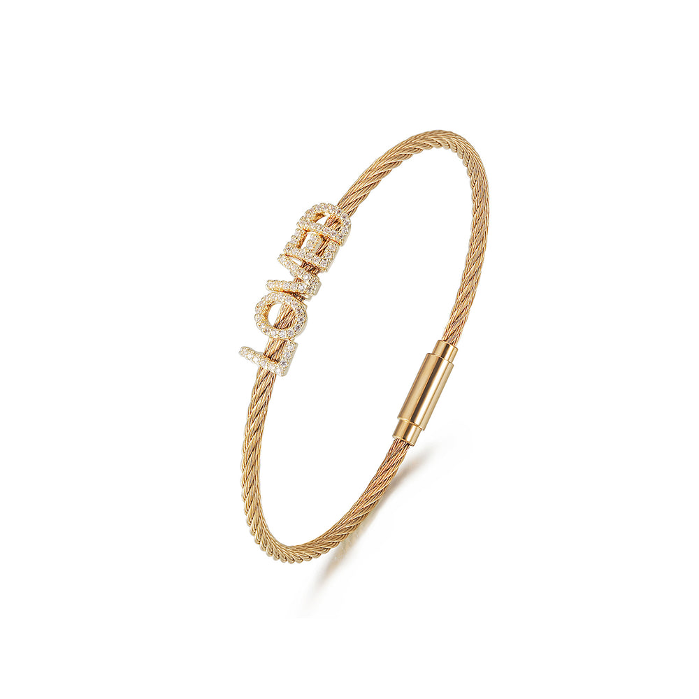 """LOVED"" Pavé Bangle Bracelet"