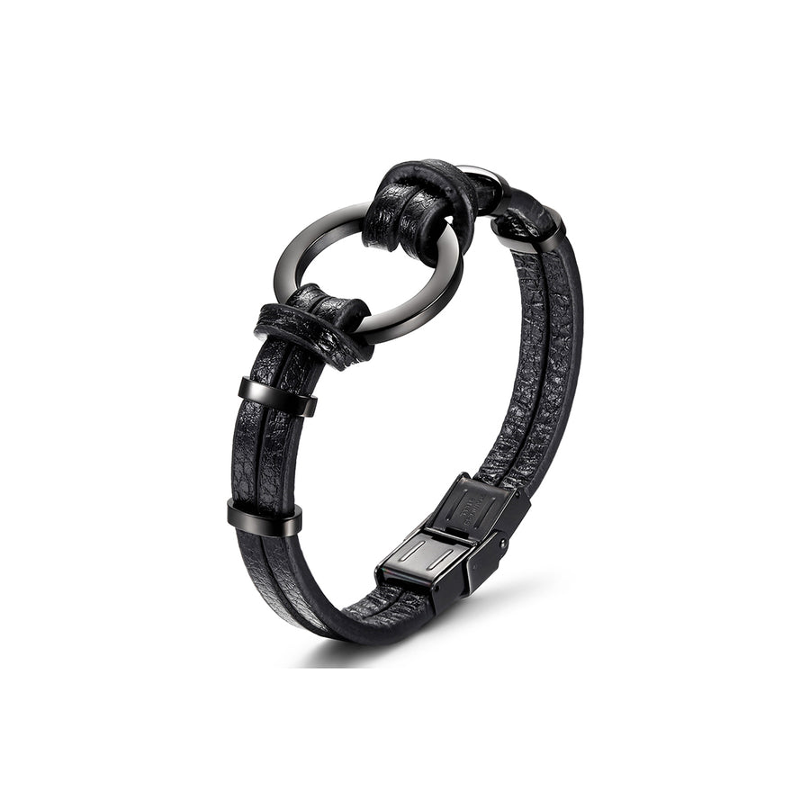 Black/Silver Circle Warp Leather Bracelet