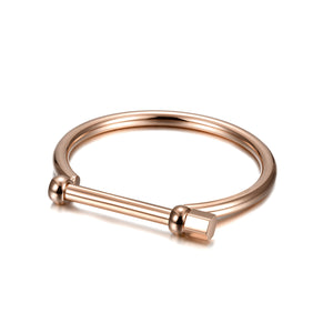 D-Shape Women's Screw Bar Bangle
