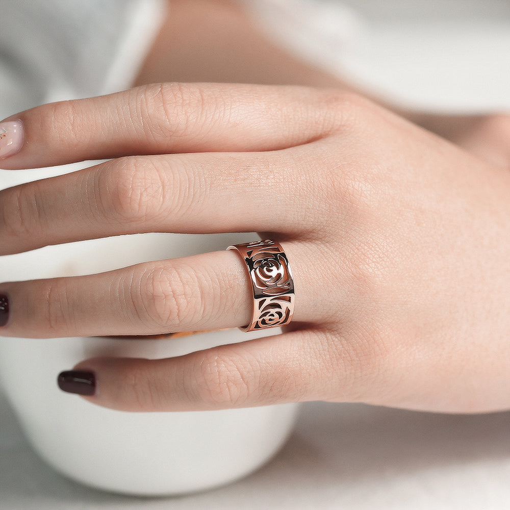 Rose Gold Flower Statement Ring