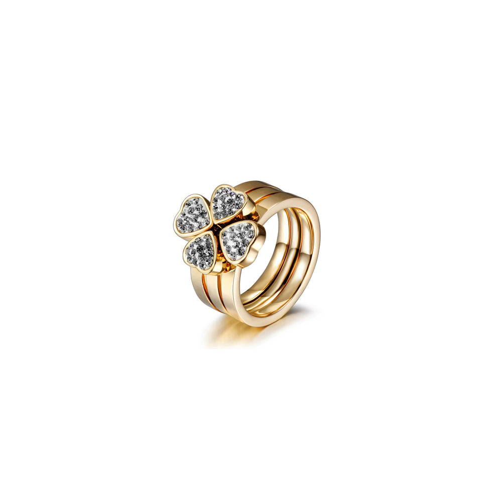 3-Stack Gold Clover CZ Rings, Set of 3