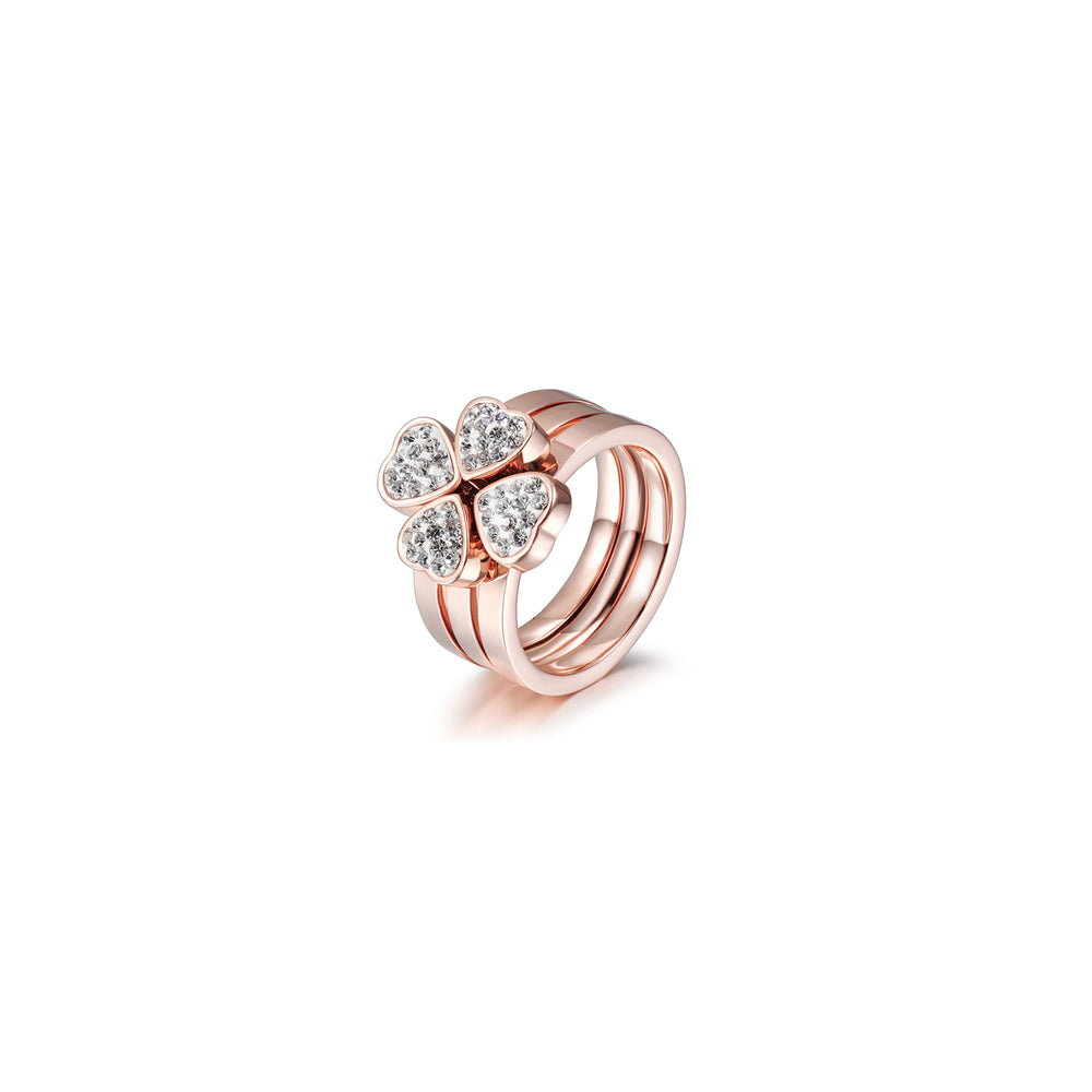 3-Stack Rose Gold Clover Rings, Set of 3
