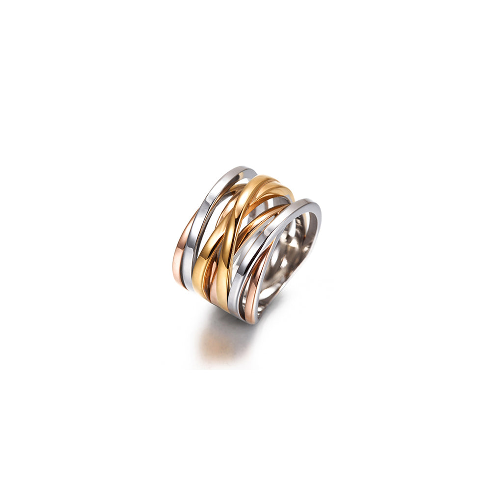 Load image into Gallery viewer, Tricolor Intertwined Statement Ring