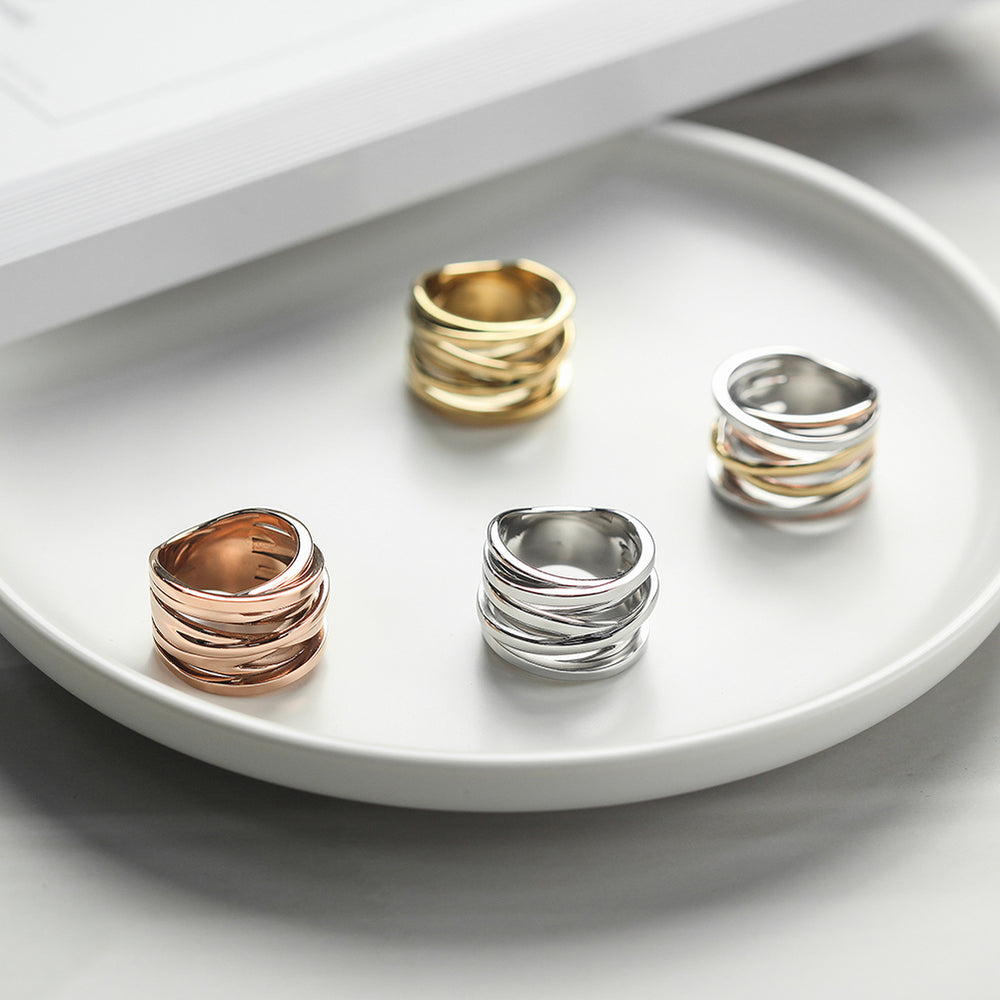 Tricolor Intertwined Statement Ring