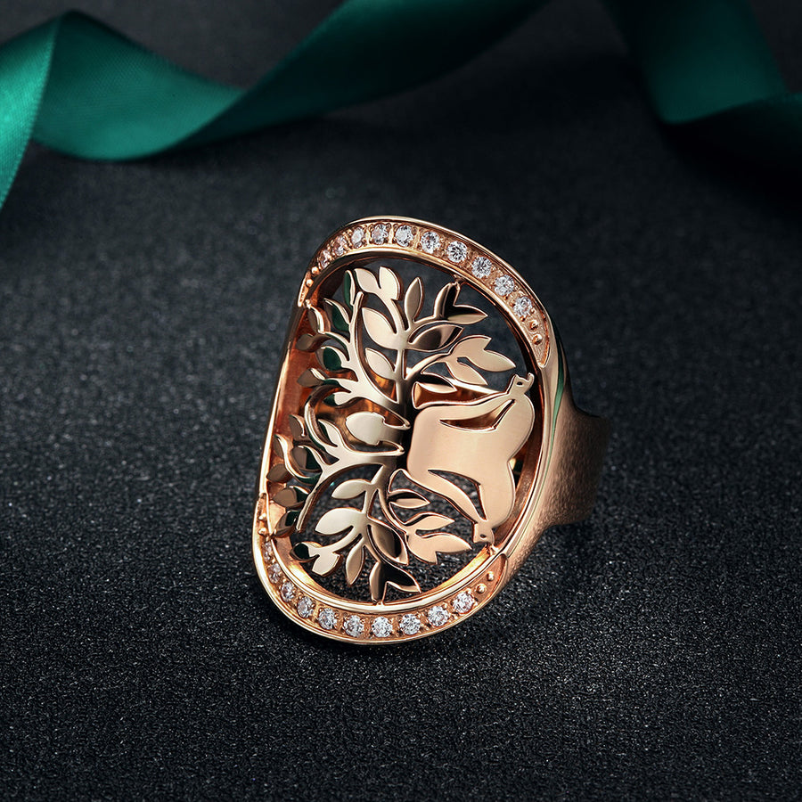 Rose Gold Filigree Tree of Life Wide Ring