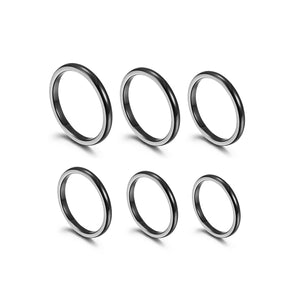 Load image into Gallery viewer, Black Thin Stack Rings, Set of 6, Size 4-9