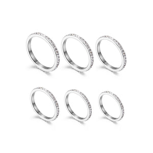 Silver Thin Stack Rings, Set of 6, Size 4-9