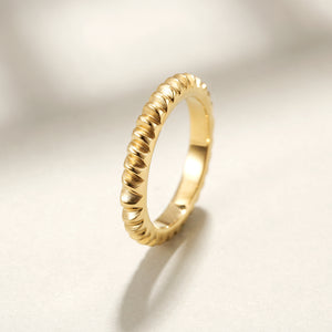 Modern Ribbed Stackable Ring