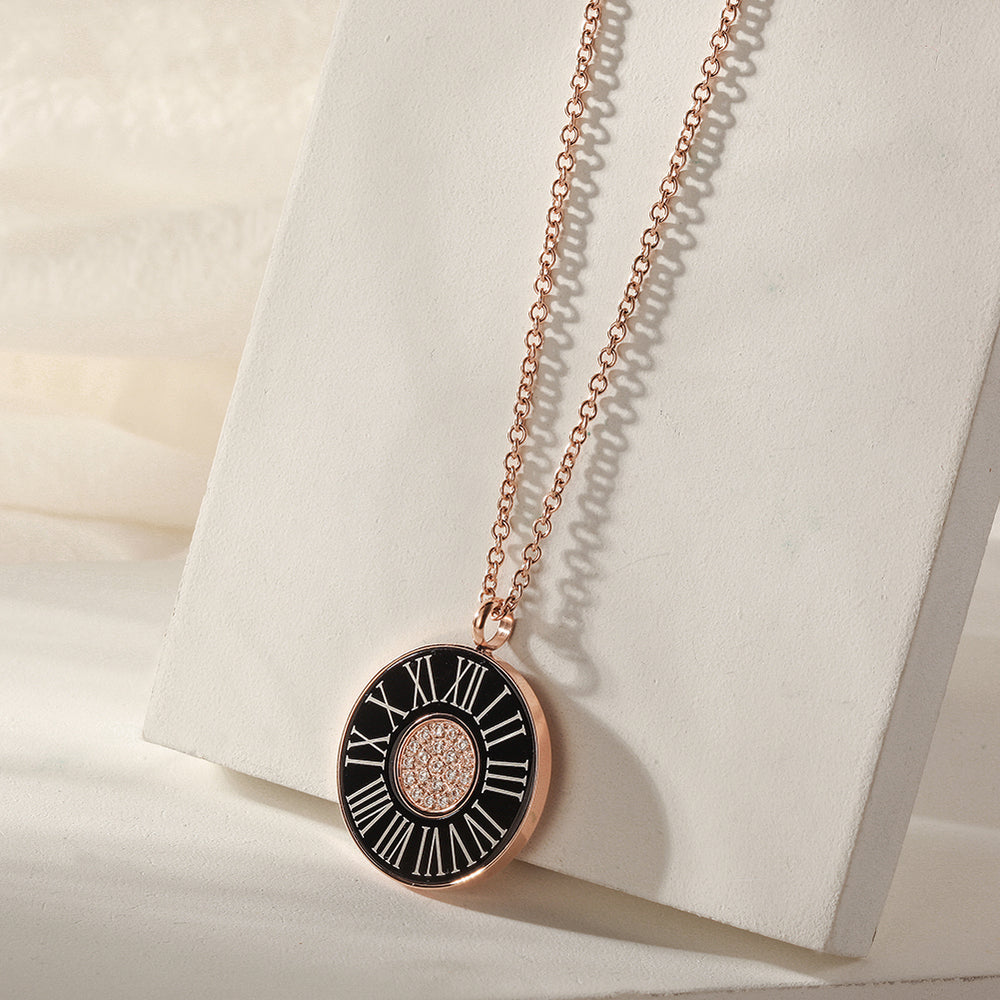 Load image into Gallery viewer, ROMAN NUMERALS SHELL PENDANT NECKLACE