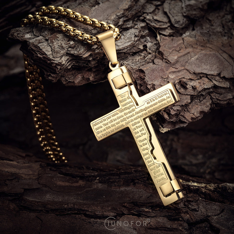 Engraved Cross Pendant Necklace