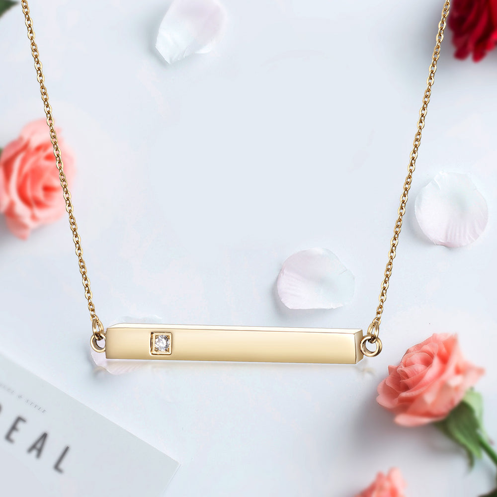 Load image into Gallery viewer, Engravable CZ Bar Necklace