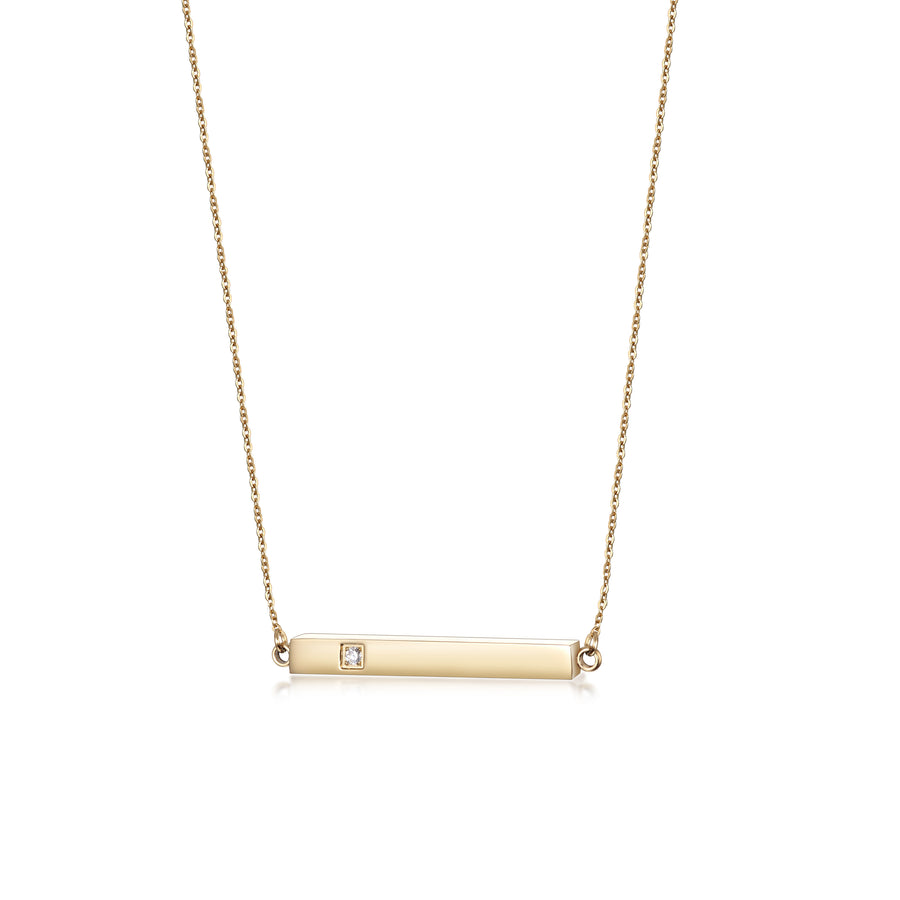 Bar Pendant with CZ Necklace