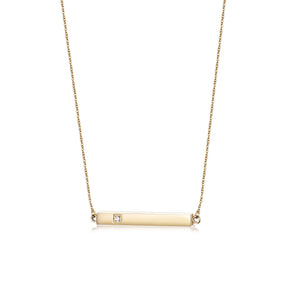 Engravable CZ Bar Necklace