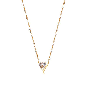 CZ V-Shaped Set Pendant Necklace