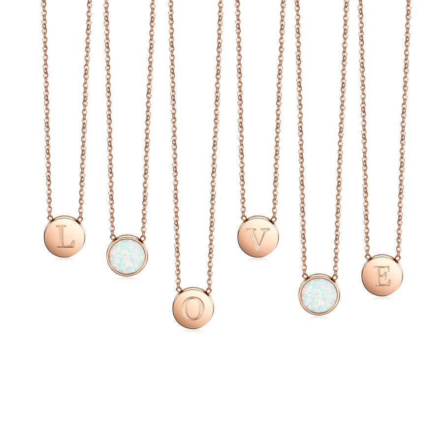 Round Opal Pendant Necklace-Rose Gold