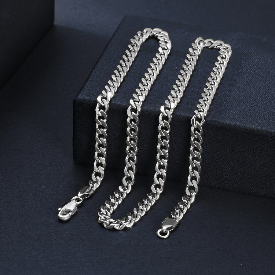 5mm Silver Hip Hop Cuban Chain Necklace