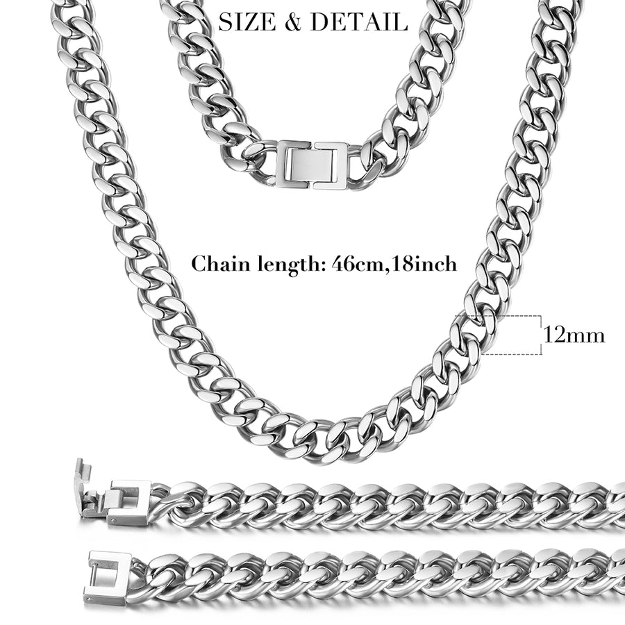 12mm Silver Hip Hop Cuban Chain Necklace