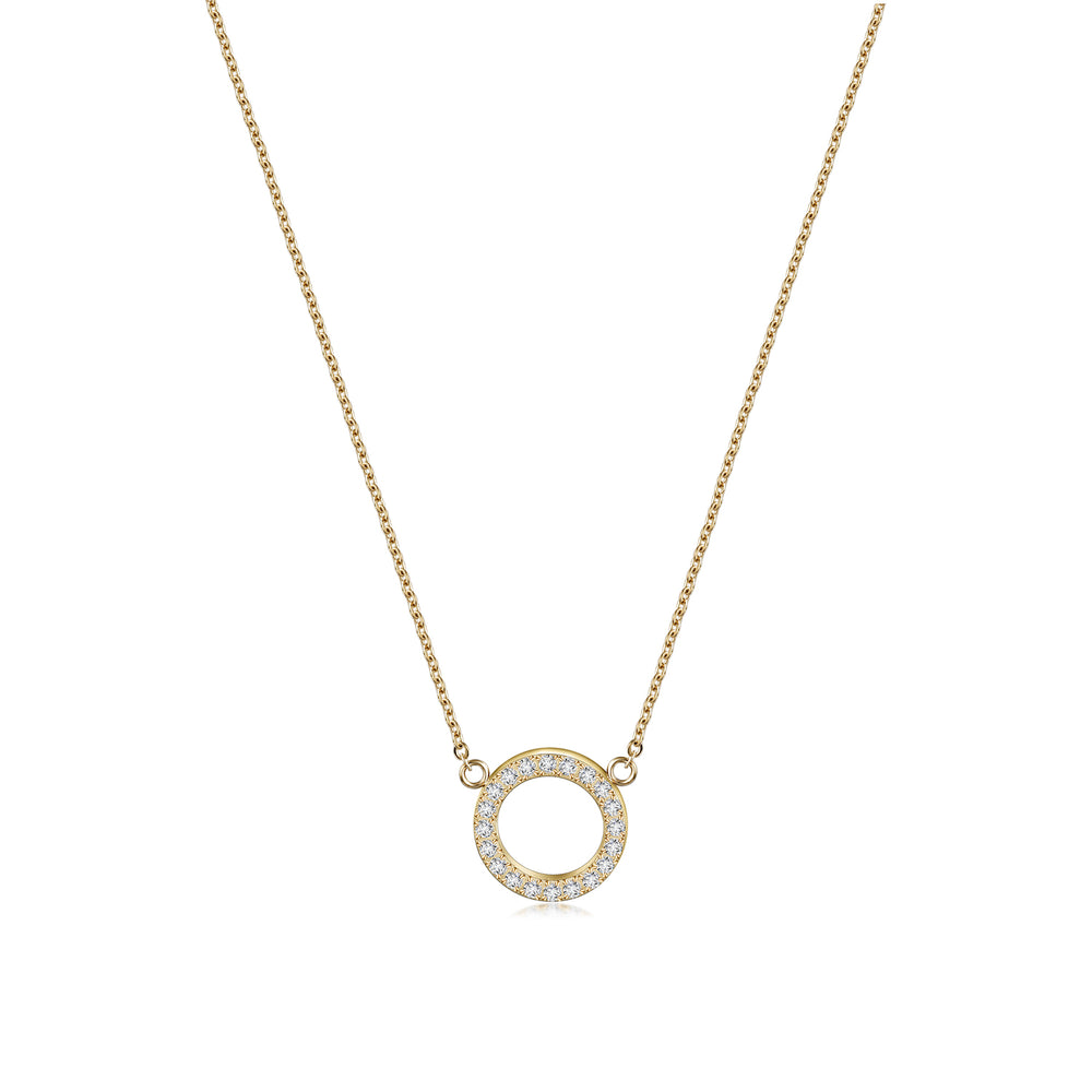 Load image into Gallery viewer, Open Circle Pendant Necklace & Open Circle CZ Studs