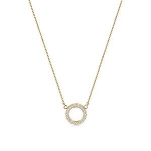 Open Circle Pendant Necklace & Open Circle CZ Studs