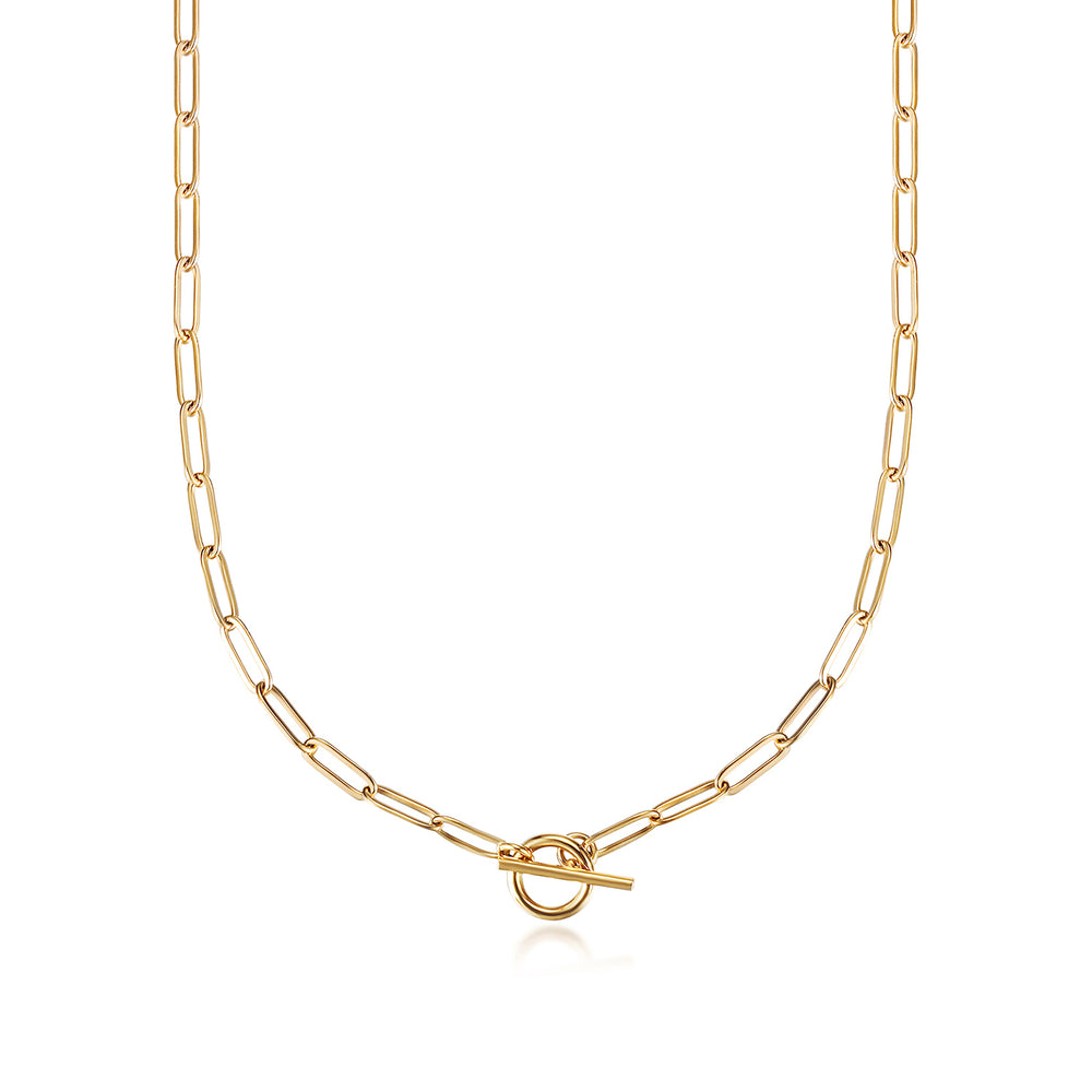 Long Linear Link Chain Necklace