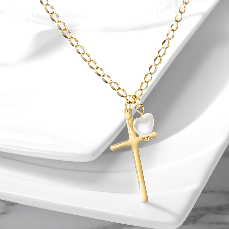 Cross with Love-shaped Pearl Pendant Necklace