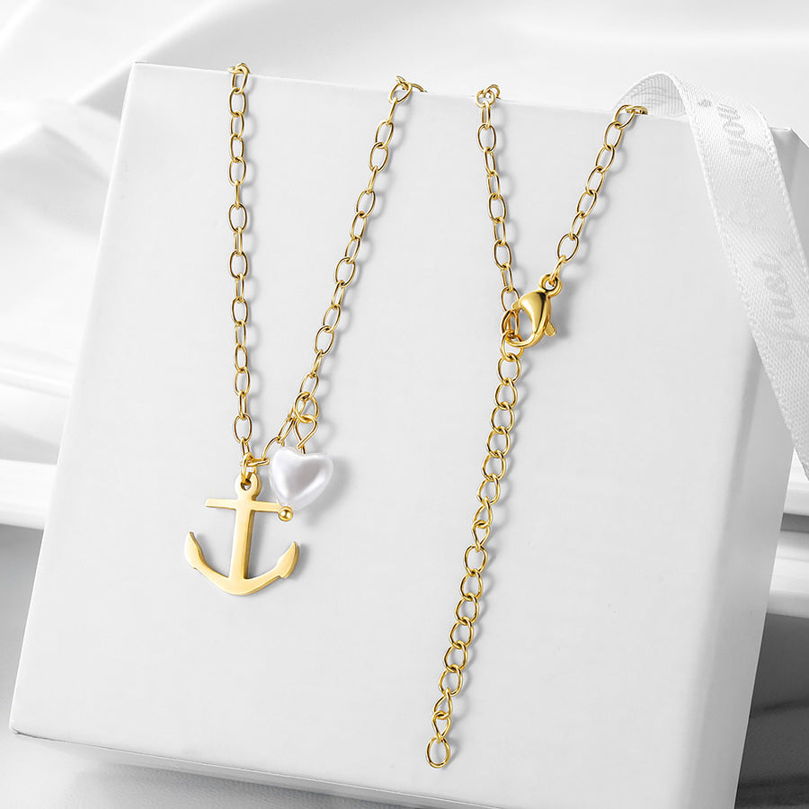 Vintage Anchor Heart-shaped Pearl Pendant Necklace