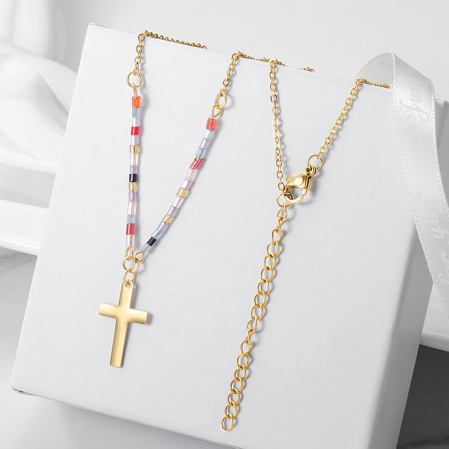Colorful Beaded Cross Necklace