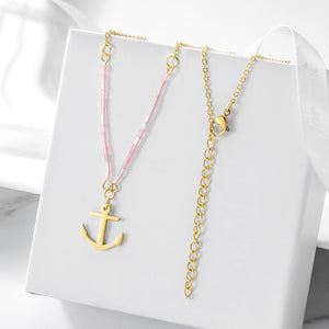 Pink Beaded Anchor Pendant Necklace