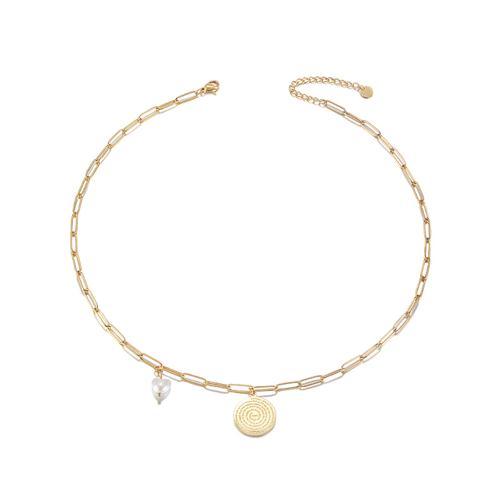 Disc Coin with Love-shaped Pearl Pendant Necklace