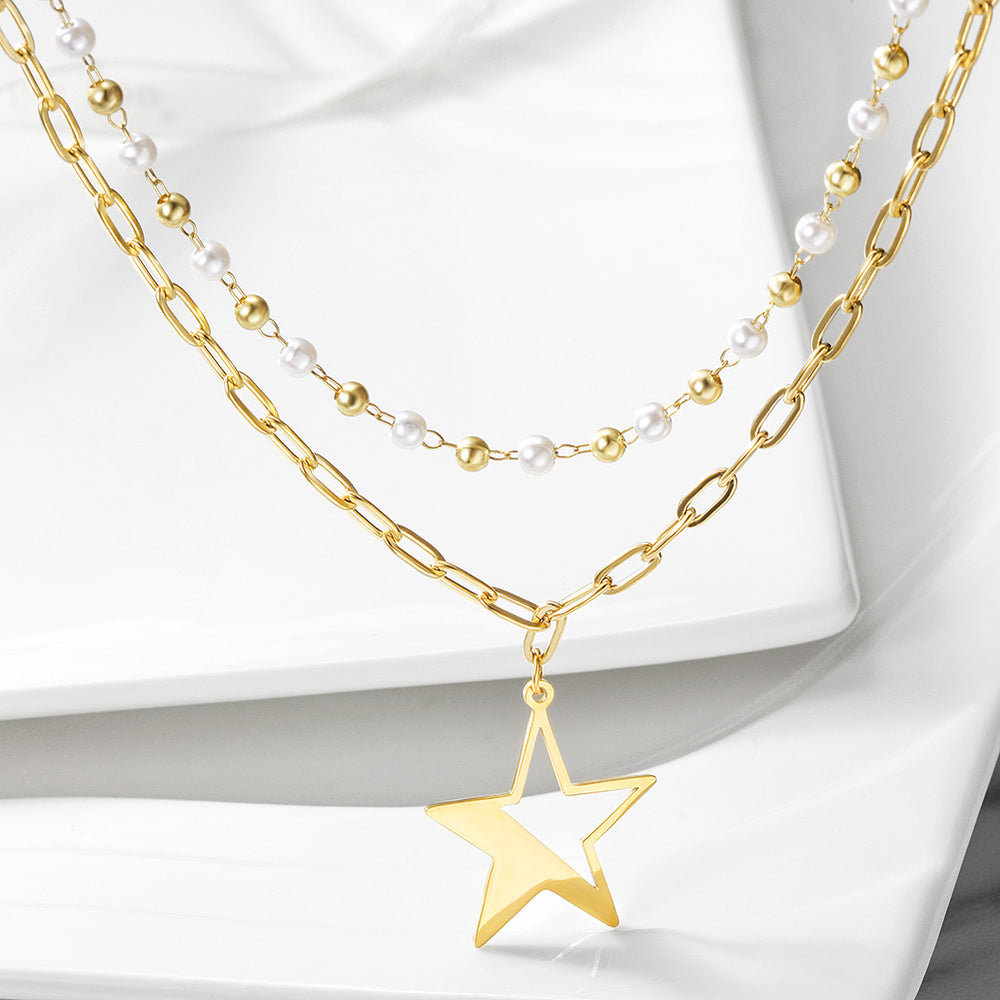 Layered Pearl Beaded Star Pendant Necklace