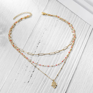 Triple layered Cleansing Hamsa Pendant Necklace