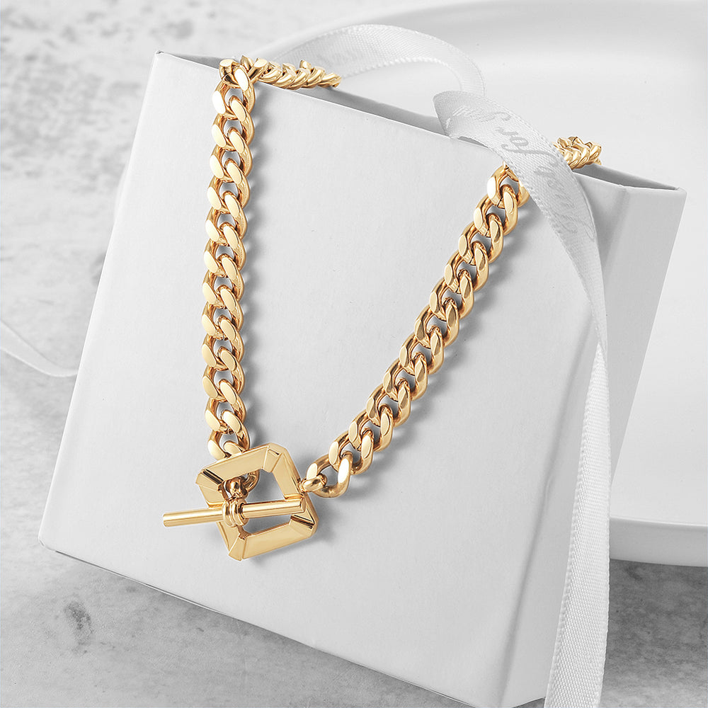 Load image into Gallery viewer, Square Toggle Clasp Chain Necklace