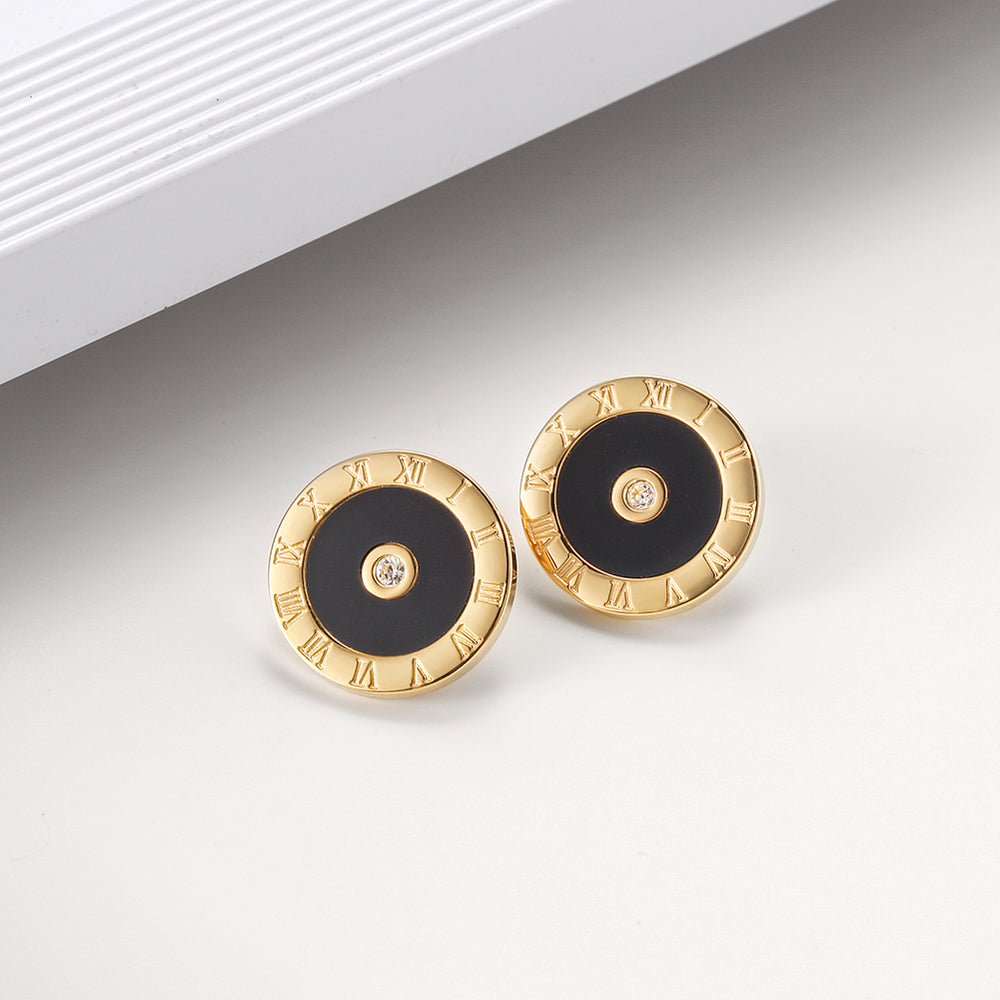 Roman Numeral Round Earrings