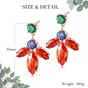 Floral Cubic Zirconia Drop Earrings