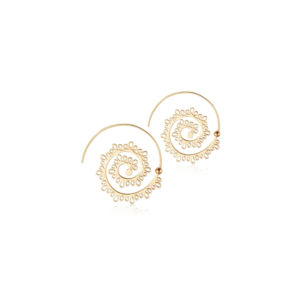 VINTAGE CIRCLE ROUND SPIRAL EARRINGS