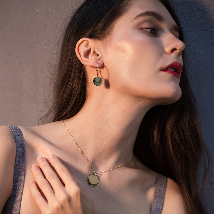 Layered Discs Drop Earrings