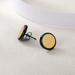 Men's Round Disk Stud Earrings